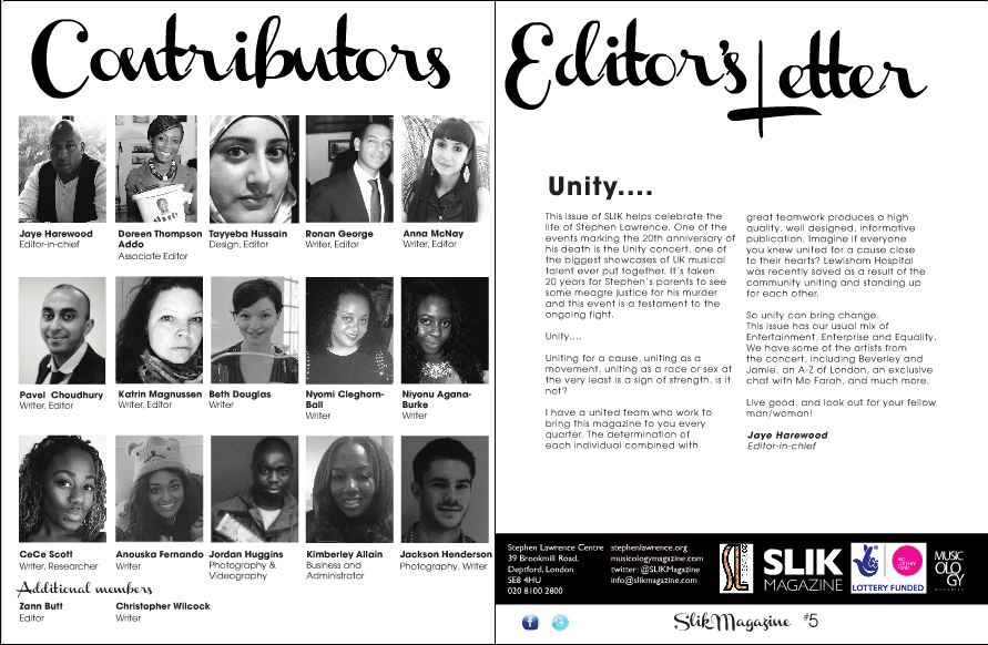 SLIK Magazine: Issue 5 – Stephen Lawrence Instills Knowledge